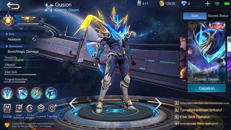 Cosmic Gleam 1 Skin Hero Mobile Legends Paling Keren