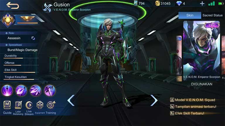 Gusion 1 Hero Mobile Legends Dengan Skin Terbanyak