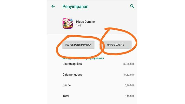 Hapus Cache Aplikasi Higgs Domino