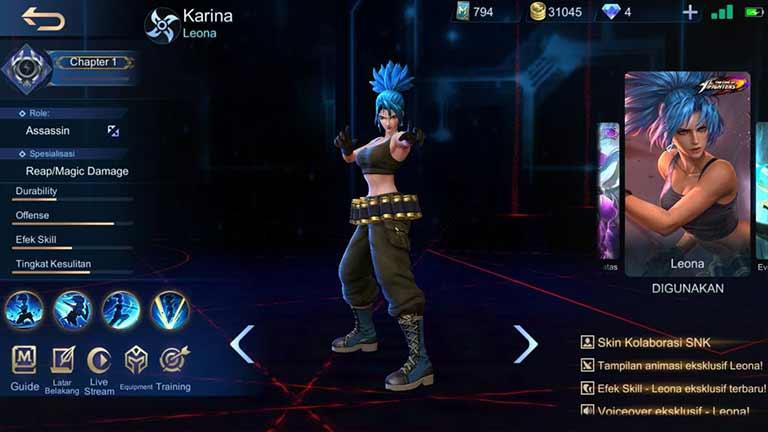 Karina Hero Mobile Legends Dengan Skin Terbanyak