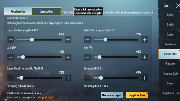 Kode Layout Sensitivitas Pubg No Recoil Pro Player