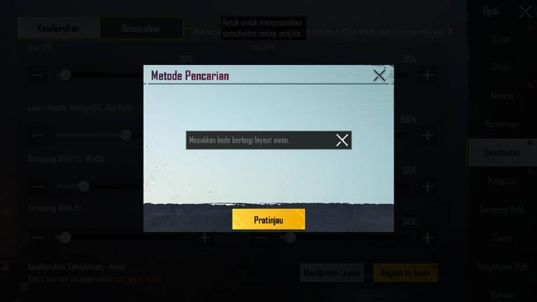 Masukkan Kode Layout Kode Layout Sensitivitas PUBG No Recoil