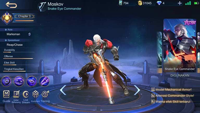 Moskov Hero Mobile Legends Dengan Skin Terbanyak