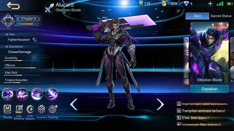 Obsidian Blade Skin Hero Mobile Legend Termahal