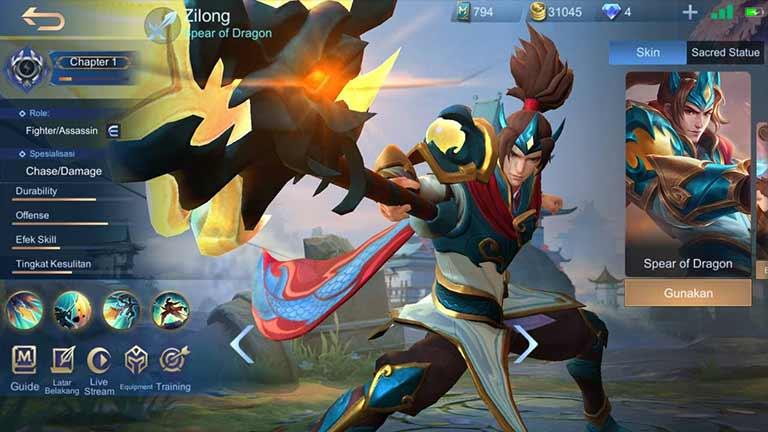 Zilong Hero Mobile Legends Dengan Skin Terbanyak