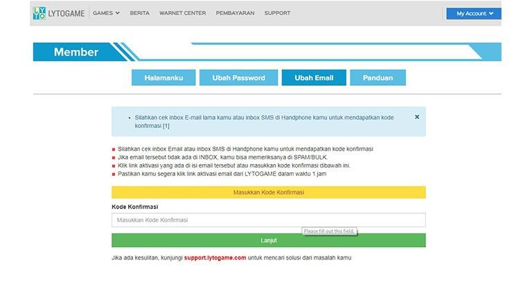 Masukkan Kode Verifikasi Cara Ganti Email Akun Lyto